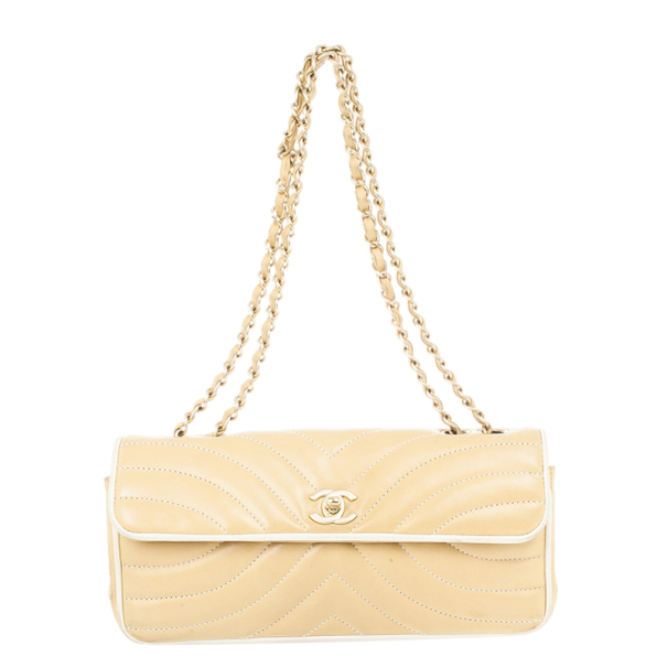 Chanel Beige Leather Medium Flap Bag
