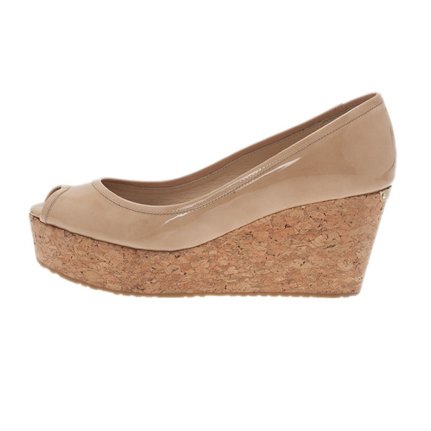 Jimmy Choo Nude Patent Parley Cork Wedge Pumps Size 38
