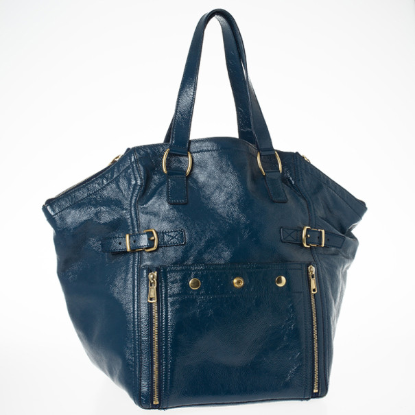 Saint Laurent Paris Blue Patent Leather Small Downtown Tote Bag