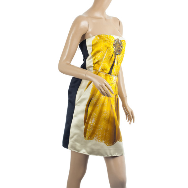 D&G Yellow Sunflower Corset Cocktail Dress M