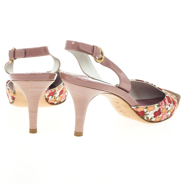 Louis Vuitton Floral Print Pointed Toe Slingback Sandals Size 40