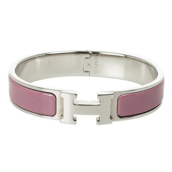 Hermes Clic-Clac H Pink Enamel Palladium Plated Bracelet PM