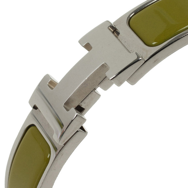 Hermes Clic-Clac H Green Enameld Palladium Plated Bracelet PM