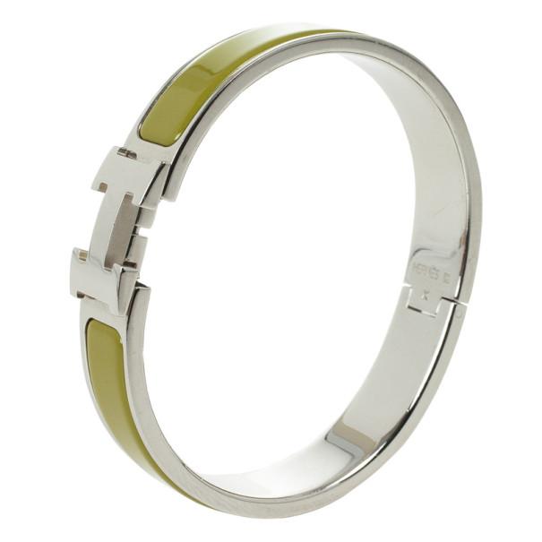 Hermes Clic-Clac H Green Enameld Palladium Plated Bracelet PM