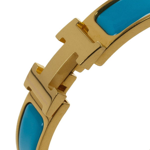 Hermes Clic-Clac H Indian Blue Enameld Gold Plated Bracelet PM