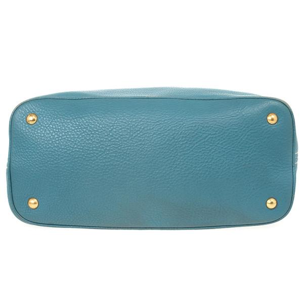 Prada Blue Calf Leather Tote