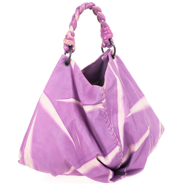 Bottega Veneta Violet Tye Dye Leather Aquilone Large Fortune Cookie Hobo Bag