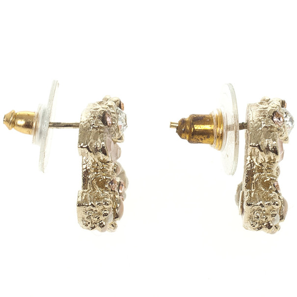 Chanel CC Crystal Signature Floral Earrings