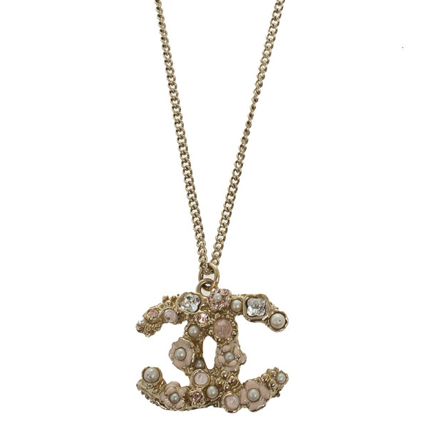 Chanel CC Crystal Signature Floral Pendant Necklace