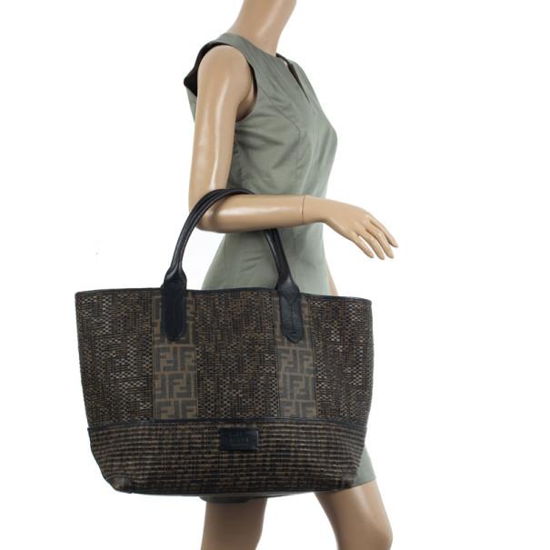Fendi Brown Woven Zucca Spalmati Shopping Tote