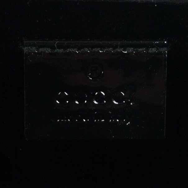 Gucci Black Patent Leather Buckle Clutch
