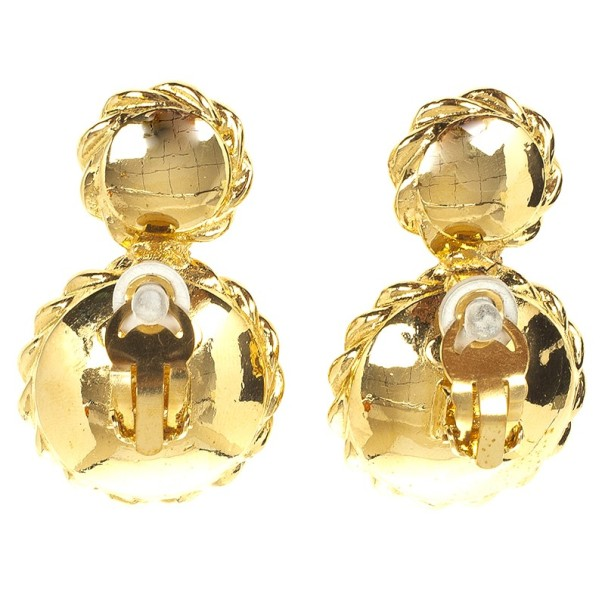 Chanel Vintage Faux Pearl Clip On Earrings