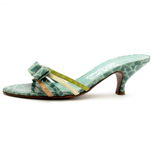 Salvatore Ferragamo Green Croc Embossed Caralis Bow Slides Size 37