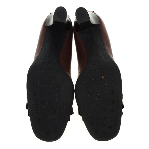 Tod's Brown Leather Fringe Loafer Pumps Size 38
