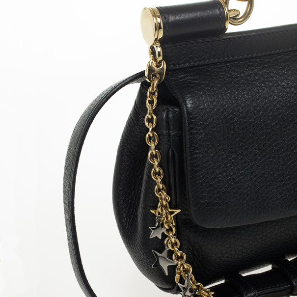Dolce and Gabbana Black Leather Mini Miss Sicily Belt Bag