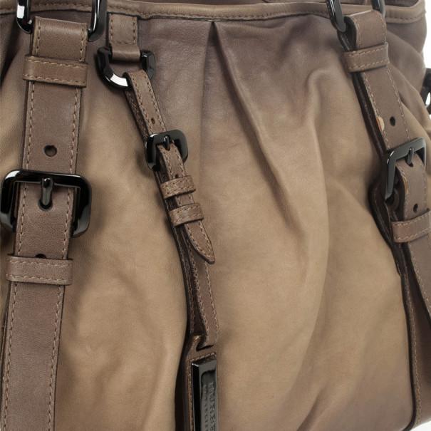 Burberry Medium Pleated Leather Tote