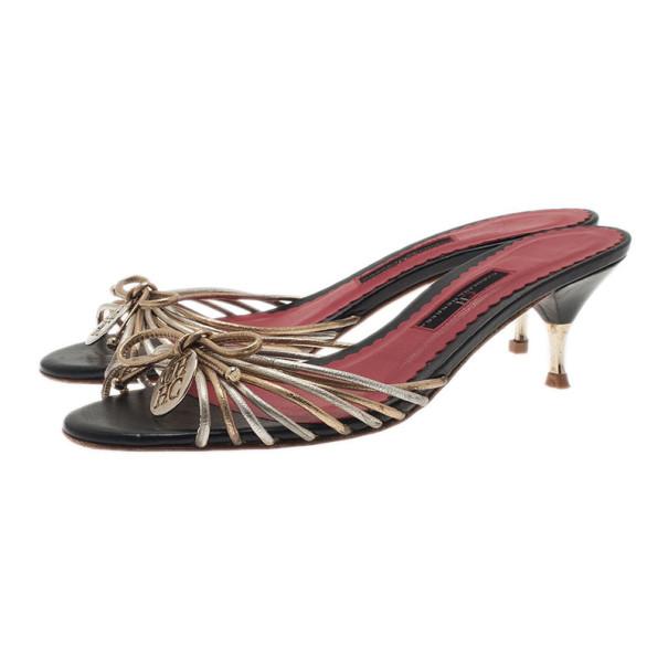 Carolina Herrera Gold and Silver Leather Logo Slides Size 39