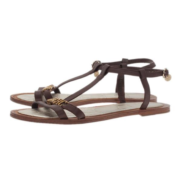 Carolina Herrera Brown Leather Logo T Strap Flat Sandals Size 38