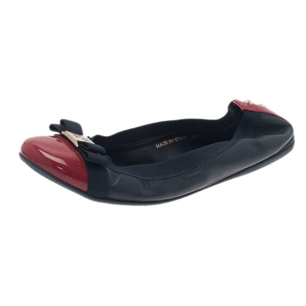 Carolina Herrera Two Tone Bow Ballet Flats Size 38