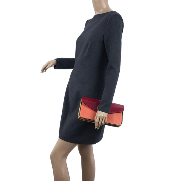Chloe Textured and Patent Leather Sally Clutch
