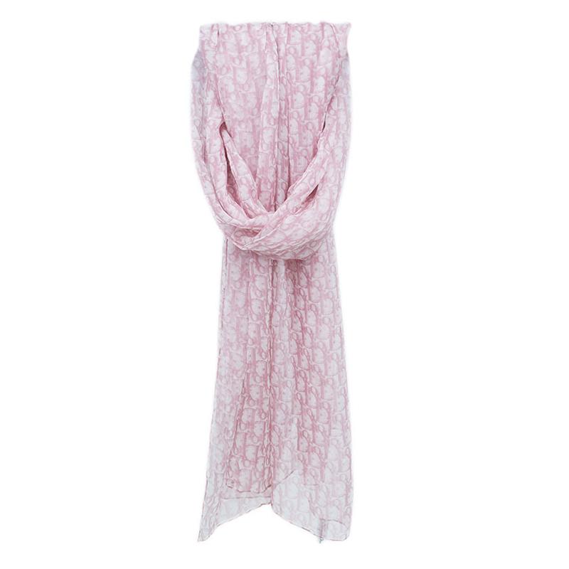 Dior Pink Silk Monogram Stole
