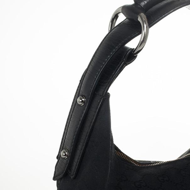 Gucci Black Monogram Horsebit Hobo