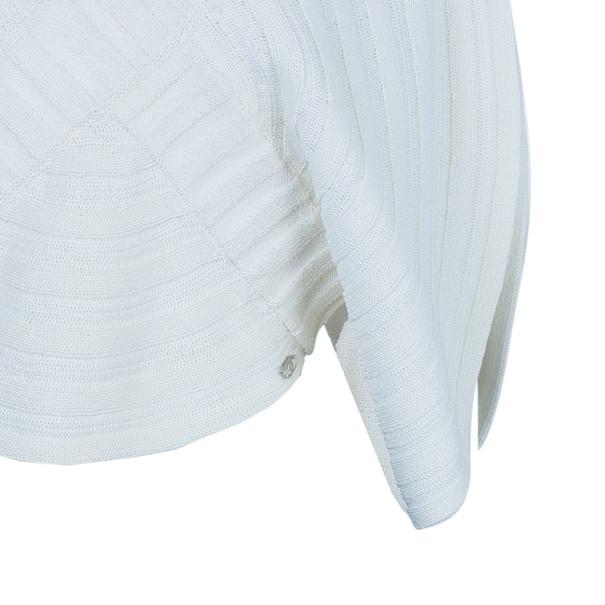 Chanel White Circular Knit Top S