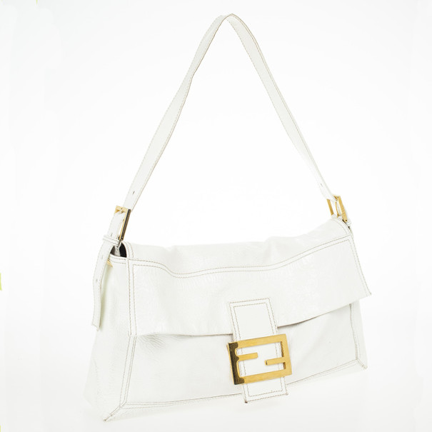Fendi White Patent Shoulder Bag