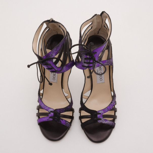 Jimmy Choo Black and Purple Darcy Sandals Size 40