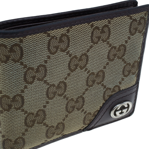 Gucci Brown Monogram Canvas and Leather Bifold Wallet