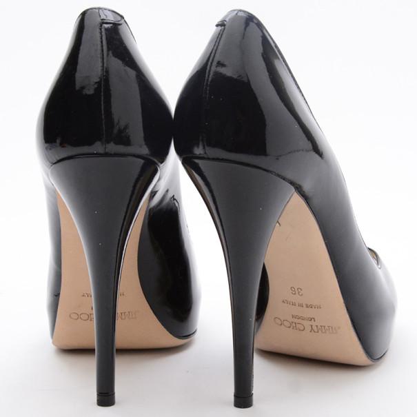 Jimmy Choo Black Patent Leather Comet Peep Toe Pumps Size 36