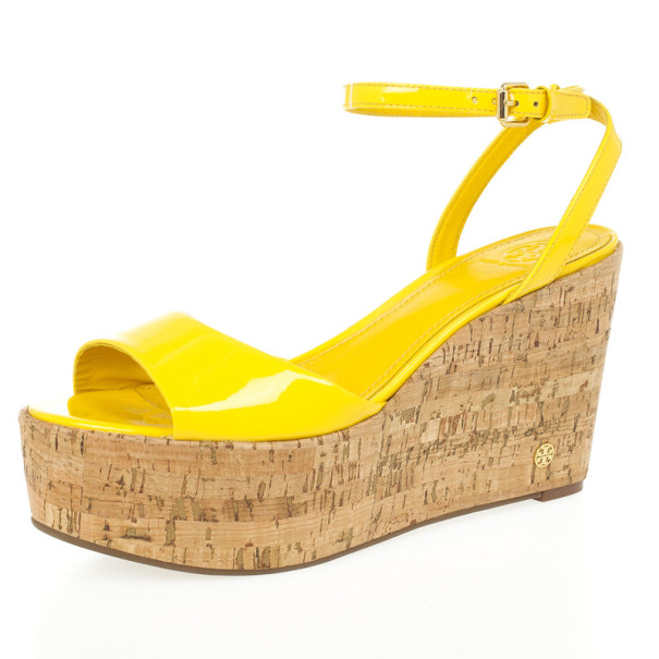 Tory Burch Yellow Patent Leather Dahlia Cork Wedges Size 39.5