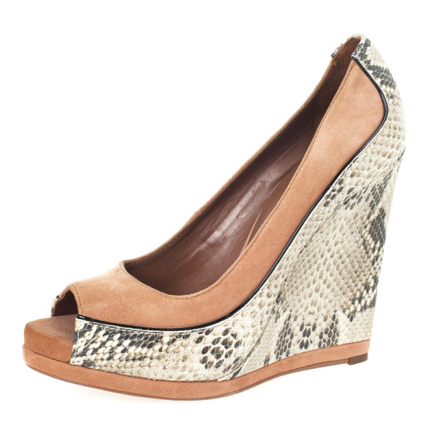 Tory Burch Beige Suede & Snake Embossed Sandra Wedges Size 41