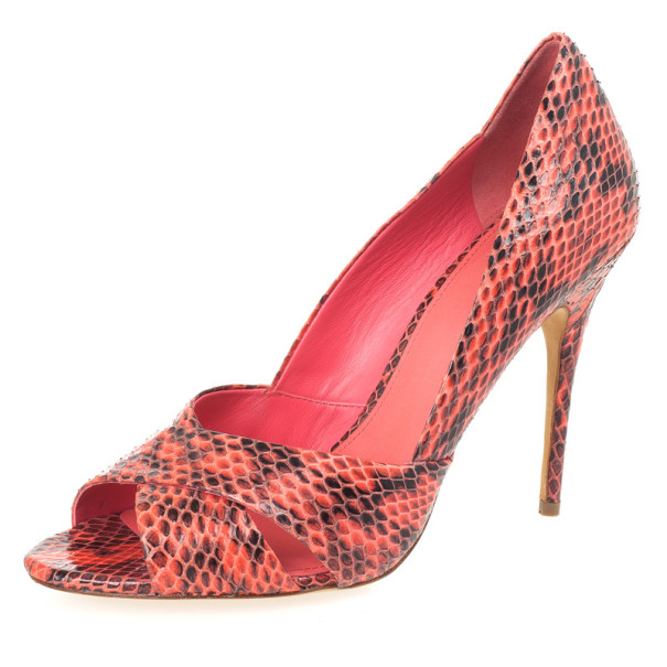 Tory Burch Pink Snake Embossed Amira Pumps Size 40.5