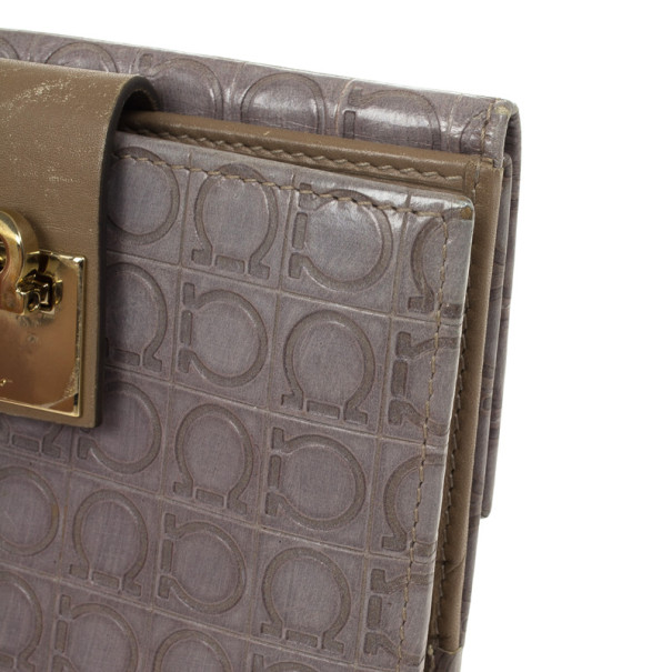 Salvatore Ferragamo Grey Gancio Embossed Flap Leather Wallet