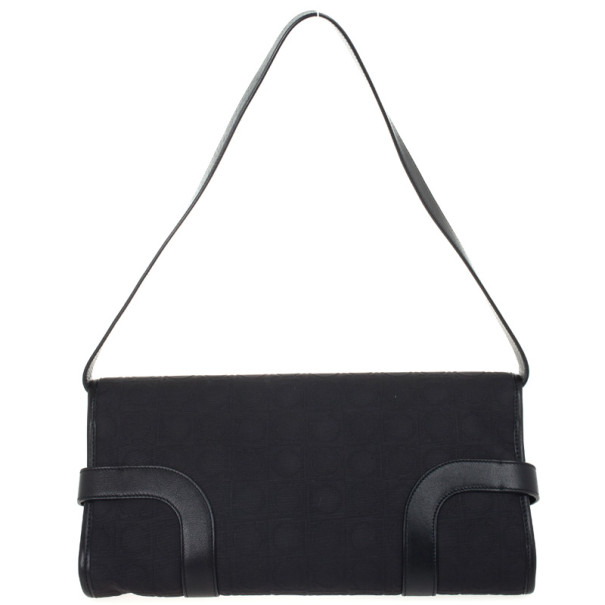Salvatore Ferragamo Black Logo Flap Satchel