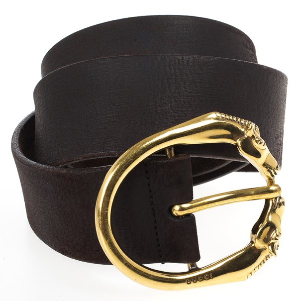 Gucci Brown Leather Horse Head Buckle Belt