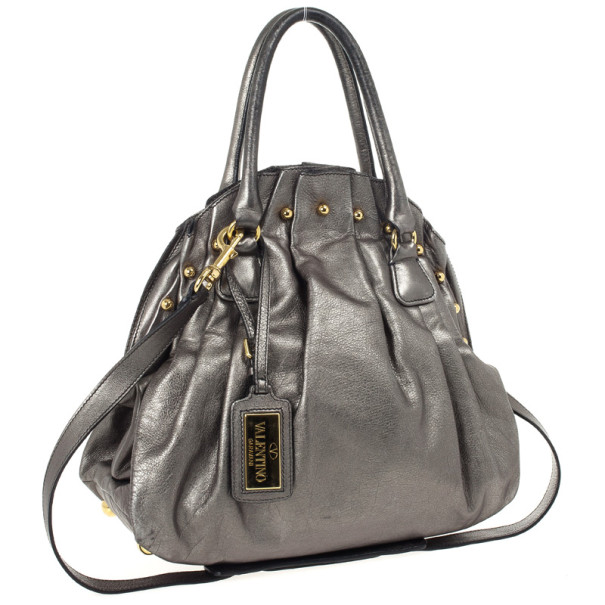 Valentino Metallic Pleated Studded Dome Satchel