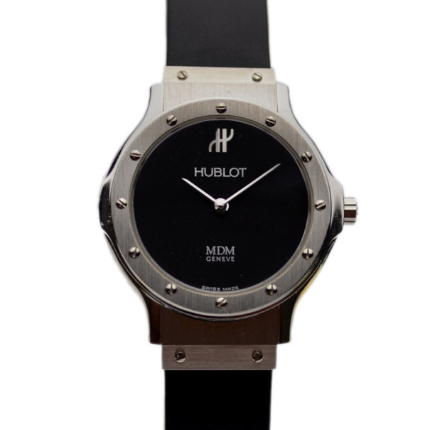 Hublot Black Stainless Steel Classic Womens Wristwatch 29MM