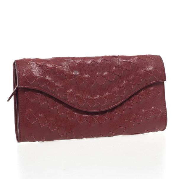 Bottega Veneta Burgundy Intrecciato Wallet
