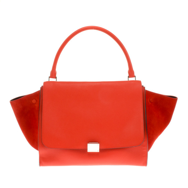Celine Orange Leather Large Trapeze Bag