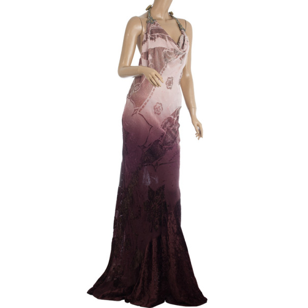 Roberto Cavalli Draped Neck Maxi Dress M