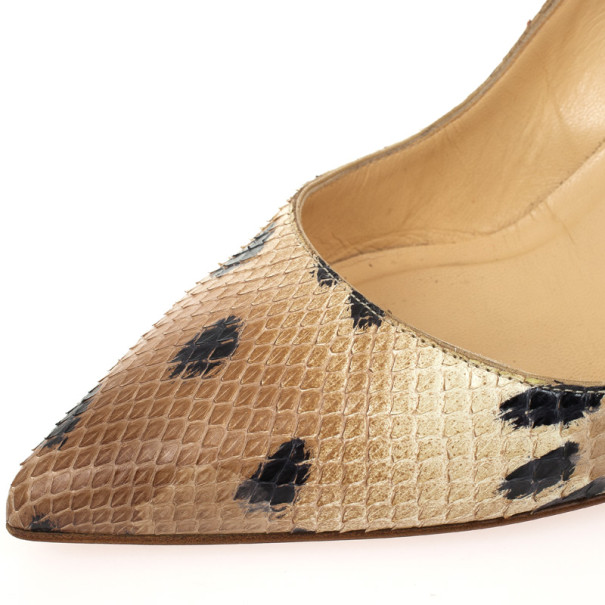 Christian Louboutin Beige Python Desert Pigalle Pointed Toe Pumps Size 41