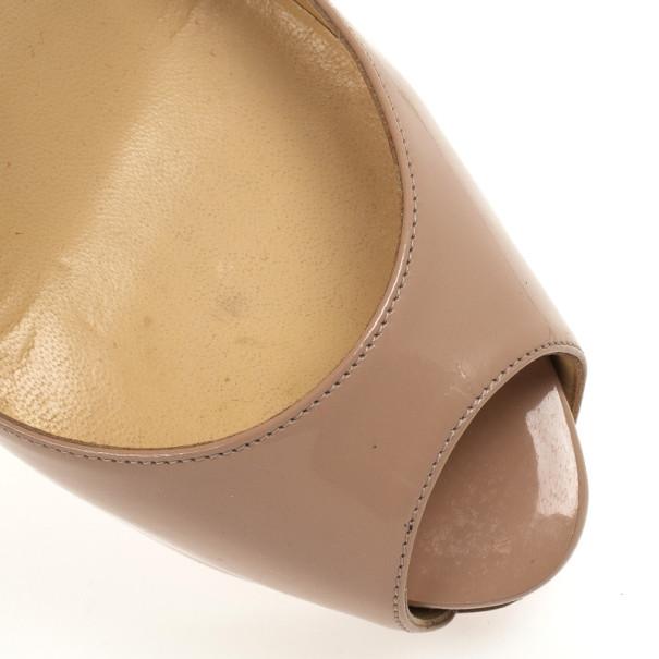 Christian Louboutin Nude Patent Very Prive Peep Toe Platform Pumps Size 36