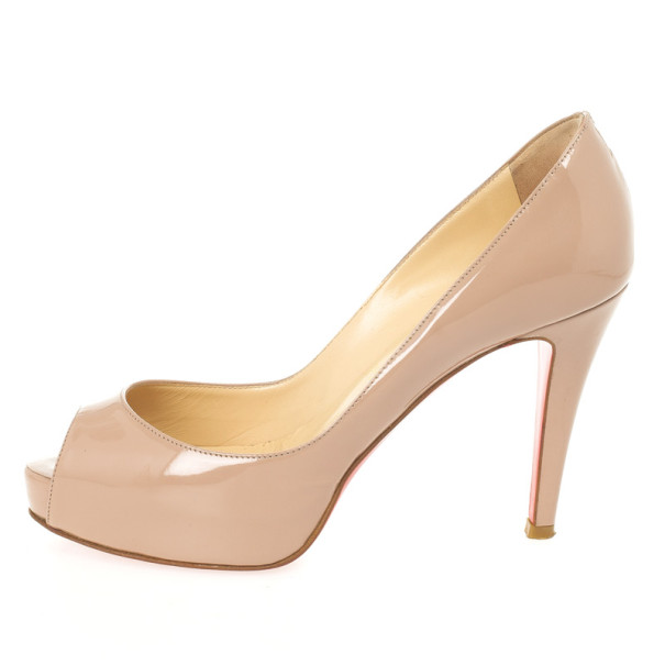 Christian Louboutin Nude Patent Very Prive Peep Toe Platform Pumps Size 36