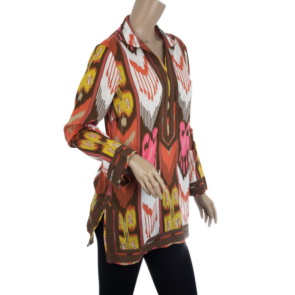 Tory Burch Multi Color Ikat Tunic Top S