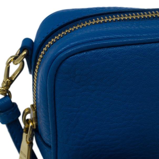 Prada Blue Calfskin Mini Zip Crossbody Bag