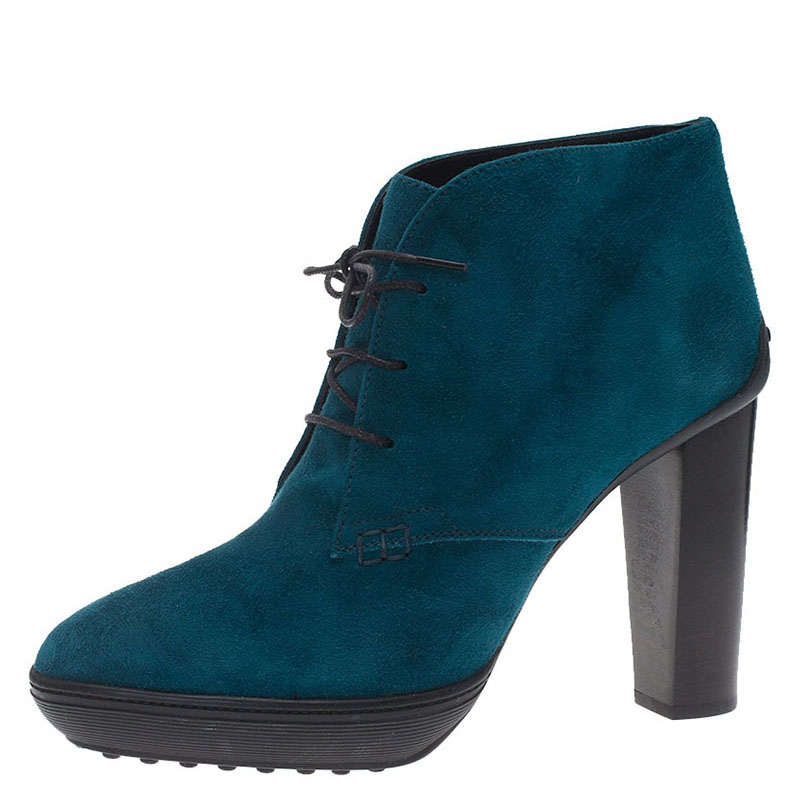 tod s turquoise suede lace up ankle boots size 40 buy