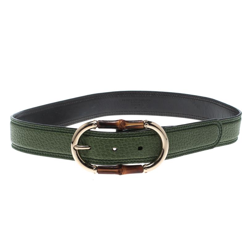 Купить со скидкой Gucci Green Leather Bamboo Buckle Belt 80cm