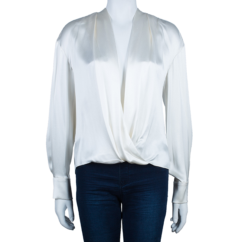 Prabal Gurung White Satin Long Sleeve Wrap Top M
